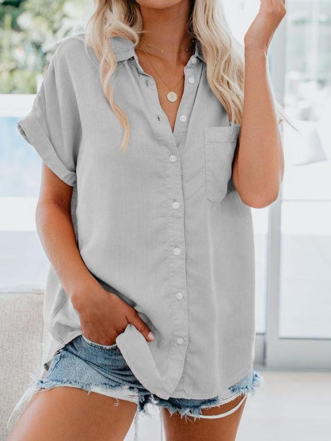 Solid Buttoned Turn-Down Collar Casual Shirts & Tops