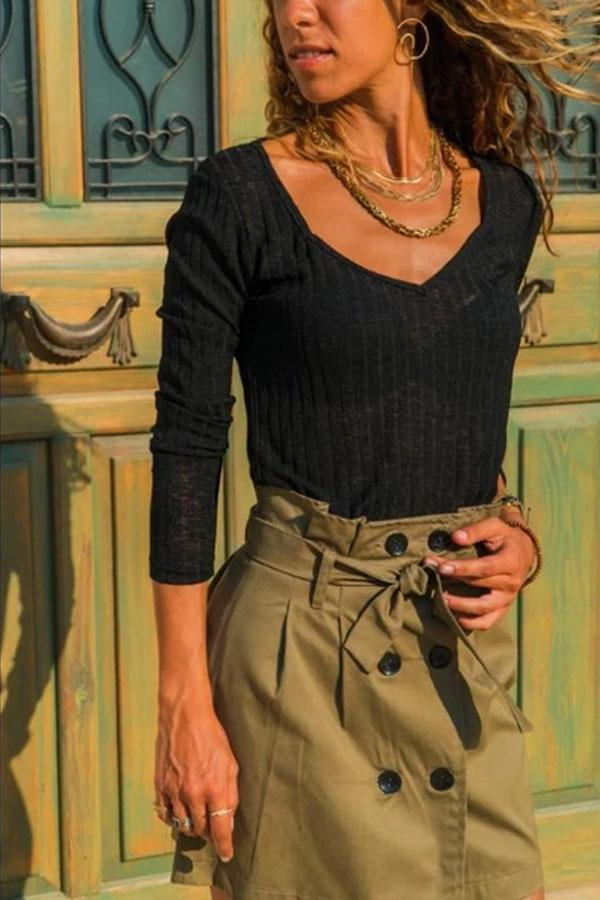 Fashion Pure Color V Neck Loose Knitted Sweater T-Shirt