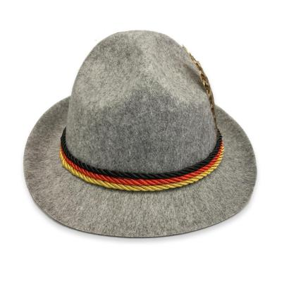 Traditional Oktoberfest Felt Hat German Alpine Cap Feather Decoration For Party