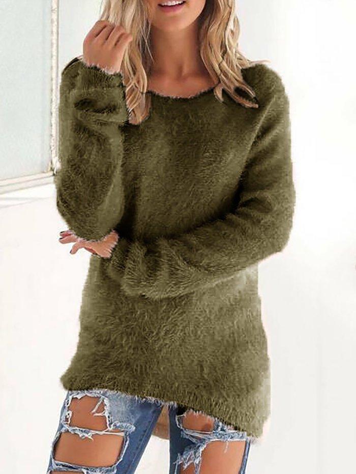 Paneled Crew Neck Casual Sweater