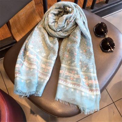 Women Scarf Cotton Linen Casual Print Flower Shawl