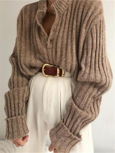 Fashion Knit Rib Henry Collar Top