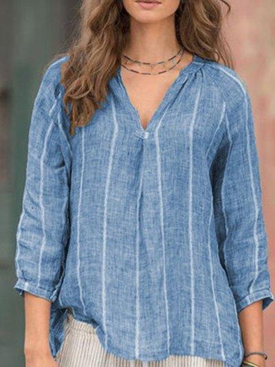 Stripes V-neck 3/4 Sleeve Large Size Women's Linen Cotton Tops Shirt