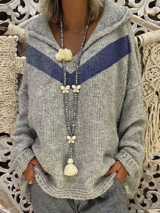 Paneled Acrylic Long Sleeve Hoodie Sweaters