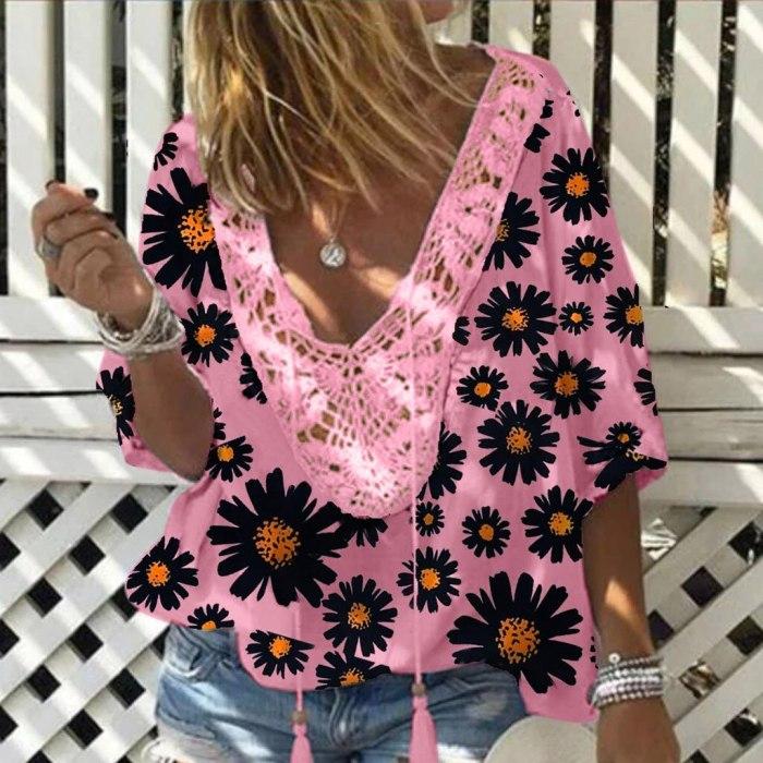 Fashion Blouse Vintage Loose Plus Size Floral Printed Lace V-Neck Short Sleeve Shirts Tops