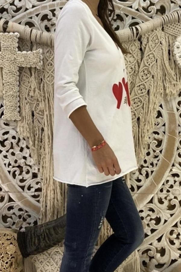 Long Sleeve Heart Casual T-shirts