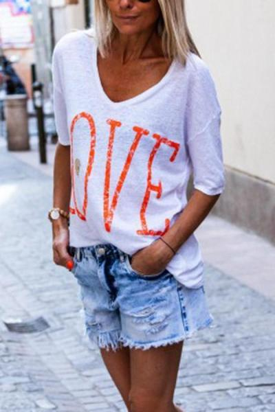 Half  Sleeves V-neck Letter Casual T-shirts