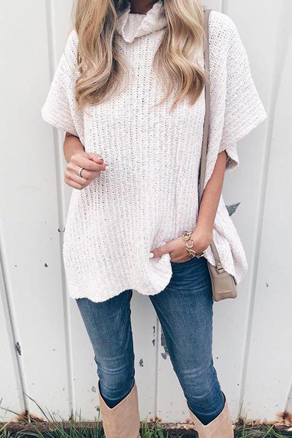 Turtle Neck Half Sleeve Loose Fashion Plain Knitting Sweaters