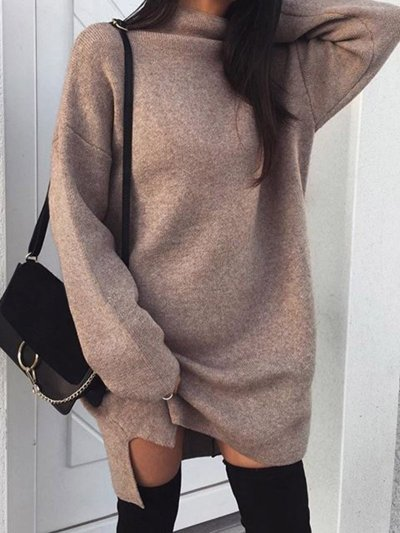 Solid Turtle Neck Casual Fall Dress