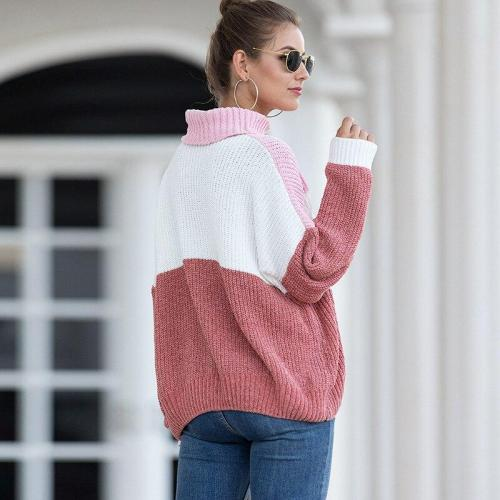 New Autumn and Winter Sweater Women's Velvet Mixed Color Turtleneck Sweater Winter Sweater Women Sweater