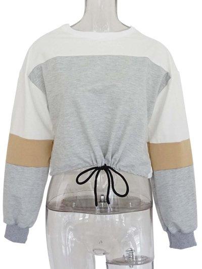 Long Sleeve Casual Color-block Crew Neck Plus Size Blouse