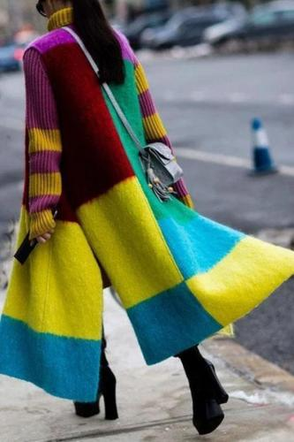 Fashion Contrast Color   Sleeveless Slit Coat