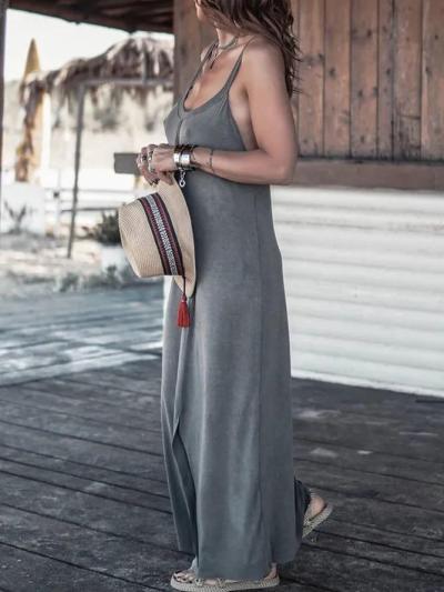 Gray Solid Sleeveless Shirts & Tops
