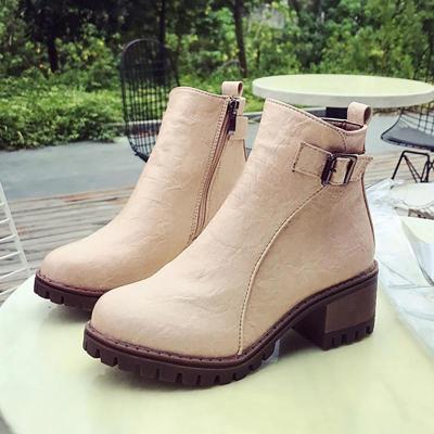 Women PU Booties Casual Comfort Zipper Shoes