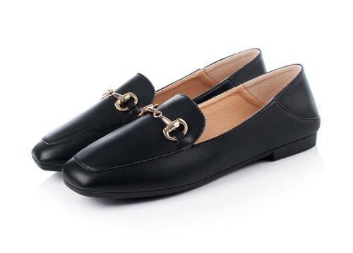 Square head shoes female flat