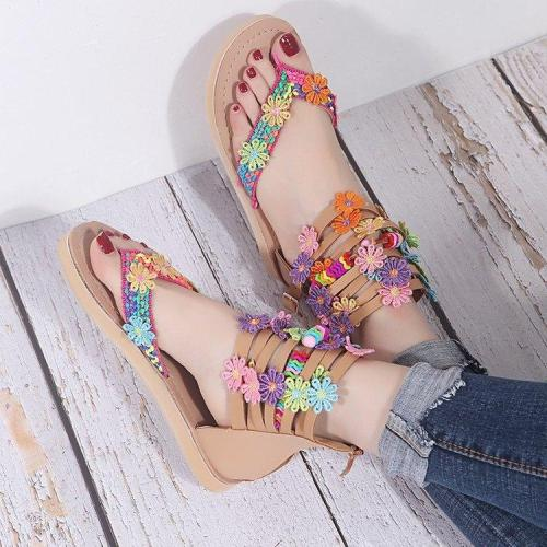 Women's New Retro Ethnic Bohemian Flat Heel Floral Sandals