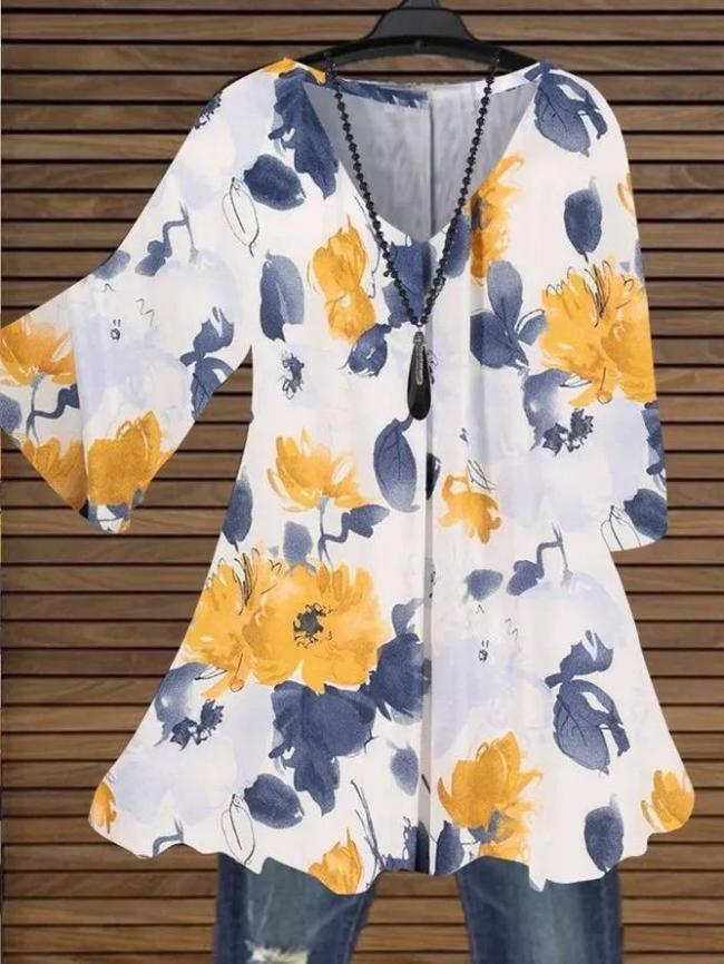 3/4 Sleeve V Neck Cotton Floral Tops