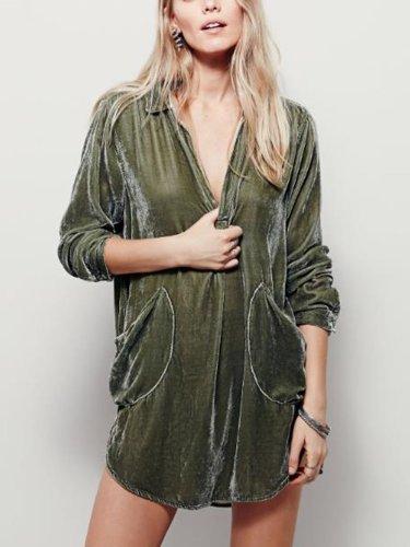 Solid Color V-neck Pocket Dress