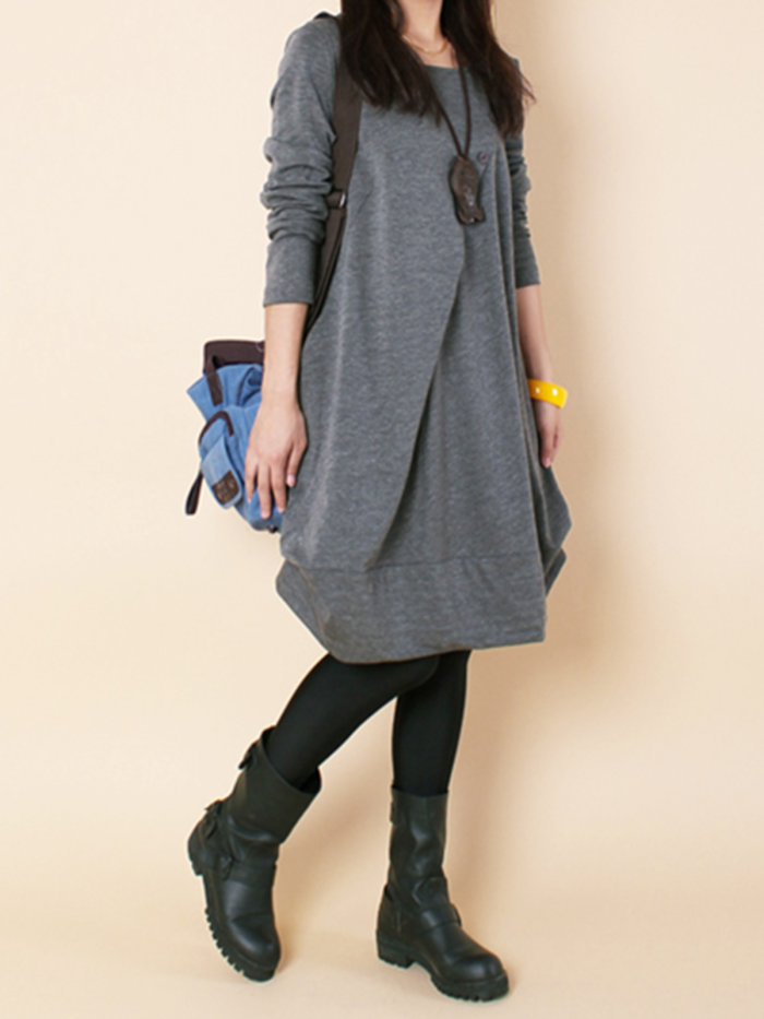 Gray Cocoon Casual Casual Dress