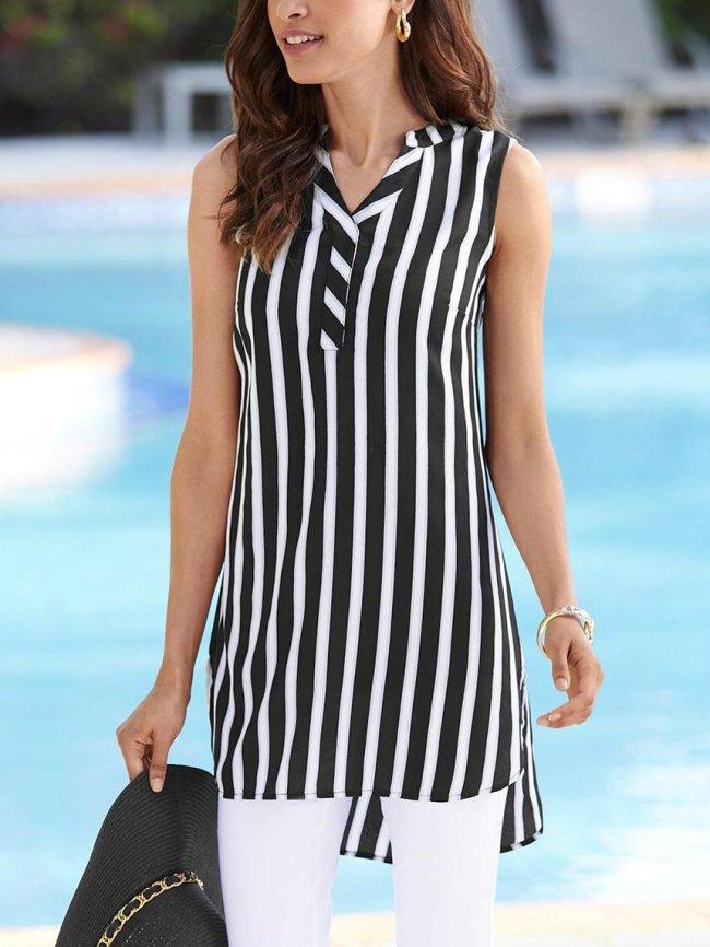 Black V Neck Cotton-Blend Sleeveless Shirts & Tops