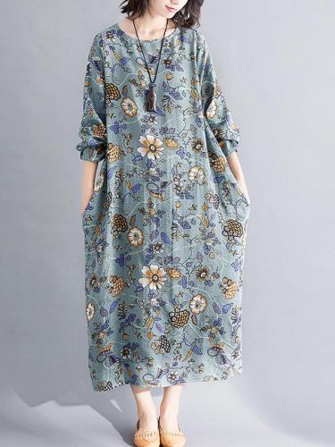 Autumn cotton linen vintage floral long sleeve women loose dress