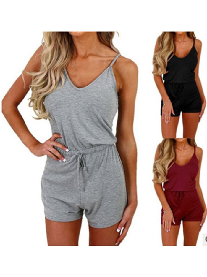 Size S-5XL Drawstring Sexy V Neck Rompers