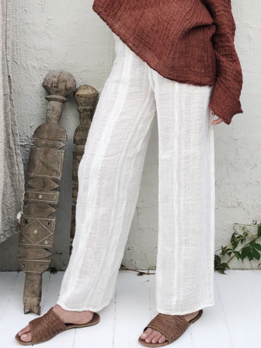 White Linen Solid Casual Pants