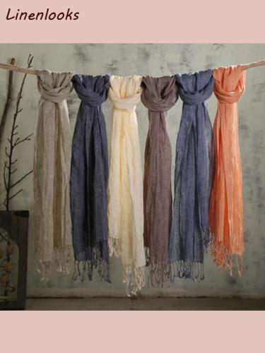 Cotton And Linen Solid Color long women's scarves shawl