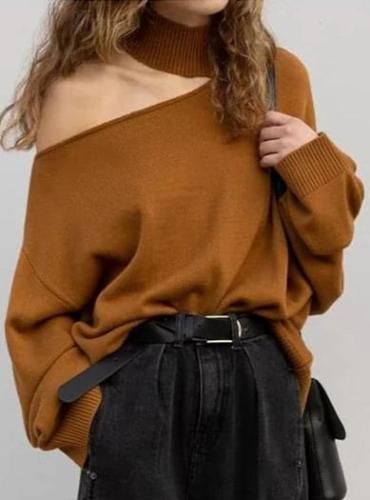 Women's Long Sleeve One Shoulder Shirt Blouse