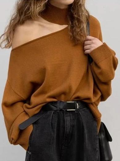 Women's Long Sleeve One Shoulder Shirt Blouse