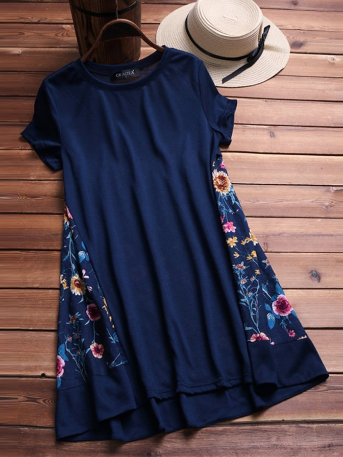 Short Sleeve Floral-Print Casual Dresses