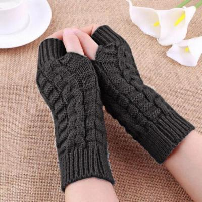 Feitong 2020 Half Finger Gloves For Women Winter Warm Wool Knitting Arm Gloves Soft Warm Mittens