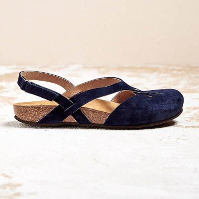 PU Magic Tape Wide Fit Flat Sandals