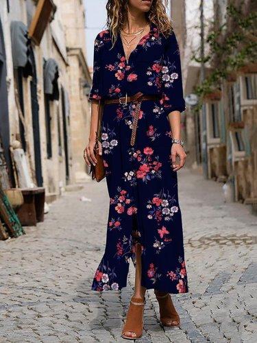 Floral-Printed Maxi Holiday Dress