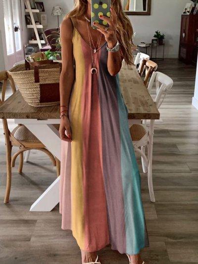 Color-blocked Maxi Holiday Dress