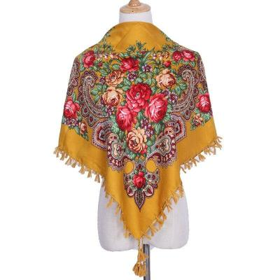 National Style Printed Scarf Women's New Square Multifunctional Fringed Shawl