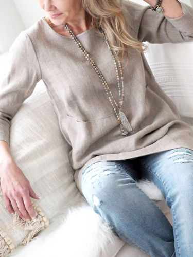 Long Sleeve Solid Cotton-Blend Shirts & Tops