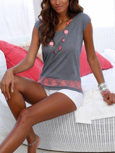 Gray Sleeveless Cotton V Neck Shirts & Tops