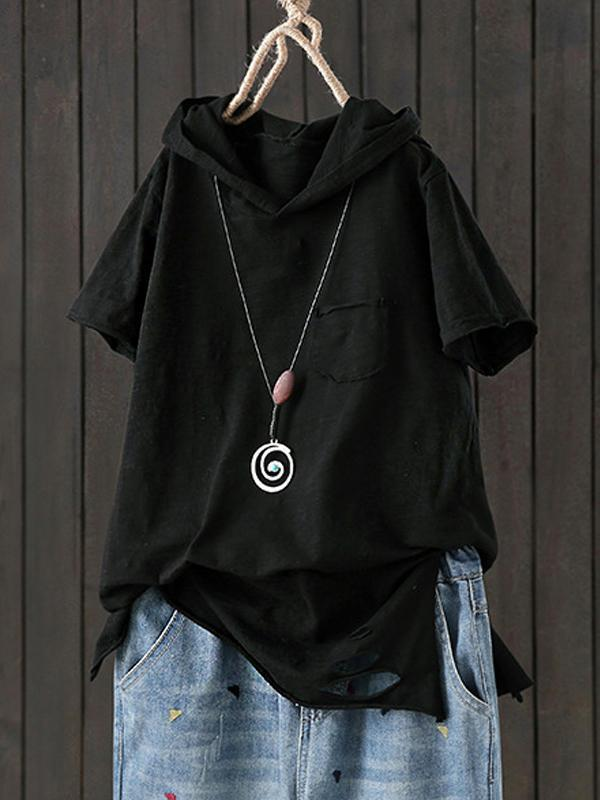Short Sleeve Broken Holes Plain Slit Hooded T-shirt