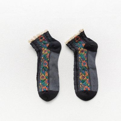 Women Socks Cotton National Wind Flowers Autumn and Winter Ladies Socks Warm
