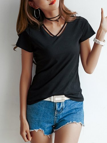 Plus Size  Loose  Solid   Cross V-neck Short Sleeve  Casual   T-shirt