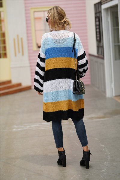 Rainbow Striped Patchwork Sweaters Long Sleeve Knitting Cardigan
