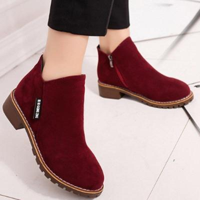Green Slip-On Women's Suede Ankle Boots