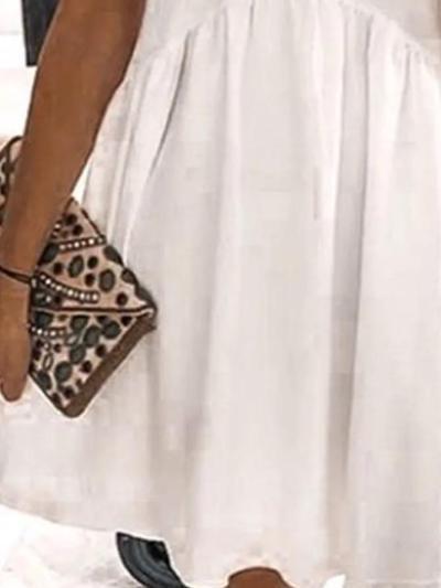White Cotton Short Sleeve Dresses