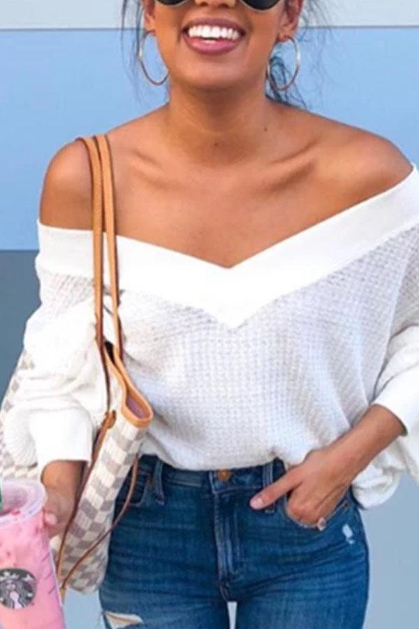 Fashion Sexy V Collar Plain Sweater