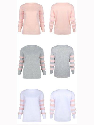 Long Sleeve Solid Paneled Crew Neck Sweatshirts