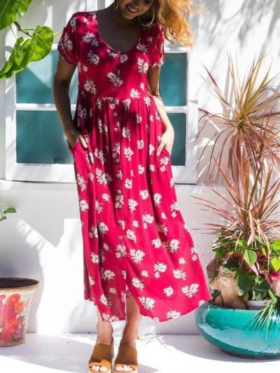 Floral Maxi Dress Plus Size Short Sleeve Printed Dresses