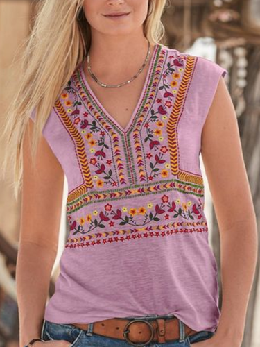 Sleeveless V Neck Shirts & Tops