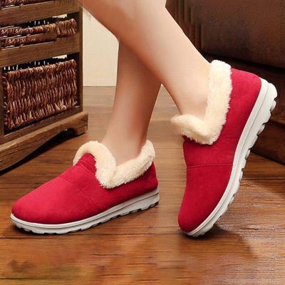 Fabric Flat Heel Boots Fur Lined Slip-on Winter Comfort Shoes