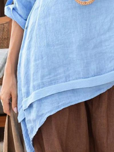 Blue Casual Linen Shirts & Tops